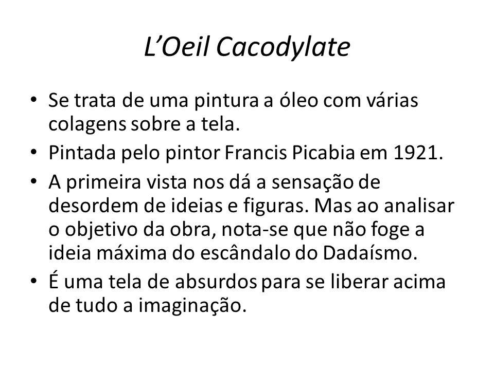 LOeil Cacodylate Se trata de uma pintura a óleo com várias colagens sobre a tela. Pintada pelo pintor Francis Picabia em 1921. A primeira vista nos dá