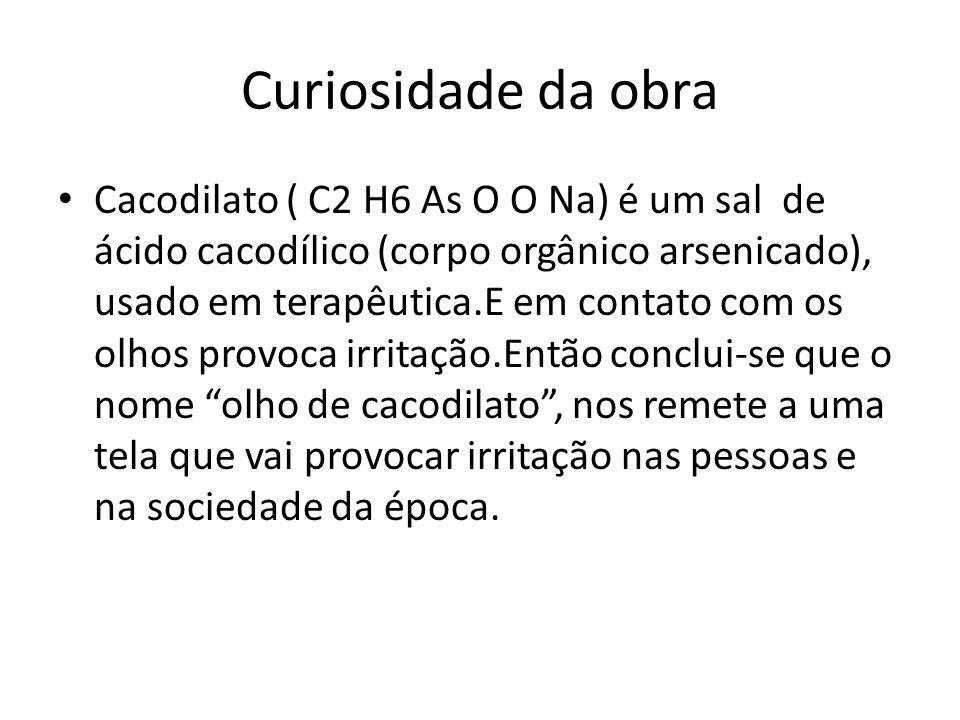 Curiosidade da obra Cacodilato ( C2 H6 As O O Na) é um sal de ácido cacodílico (corpo orgânico arsenicado), usado em terapêutica.E em contato com os o