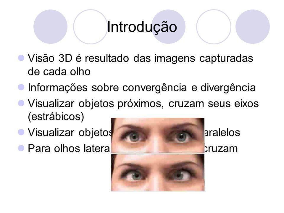 Fundamentos Matemáticos Disparidade Diferença entre as imagens formadas na retina de cada olho Paralaxe Distância entre os pontos correspondentes das imagens do olho direito e do esquerdo na imagem projetada na tela Paralaxe produz disparidade que produz o estéreo