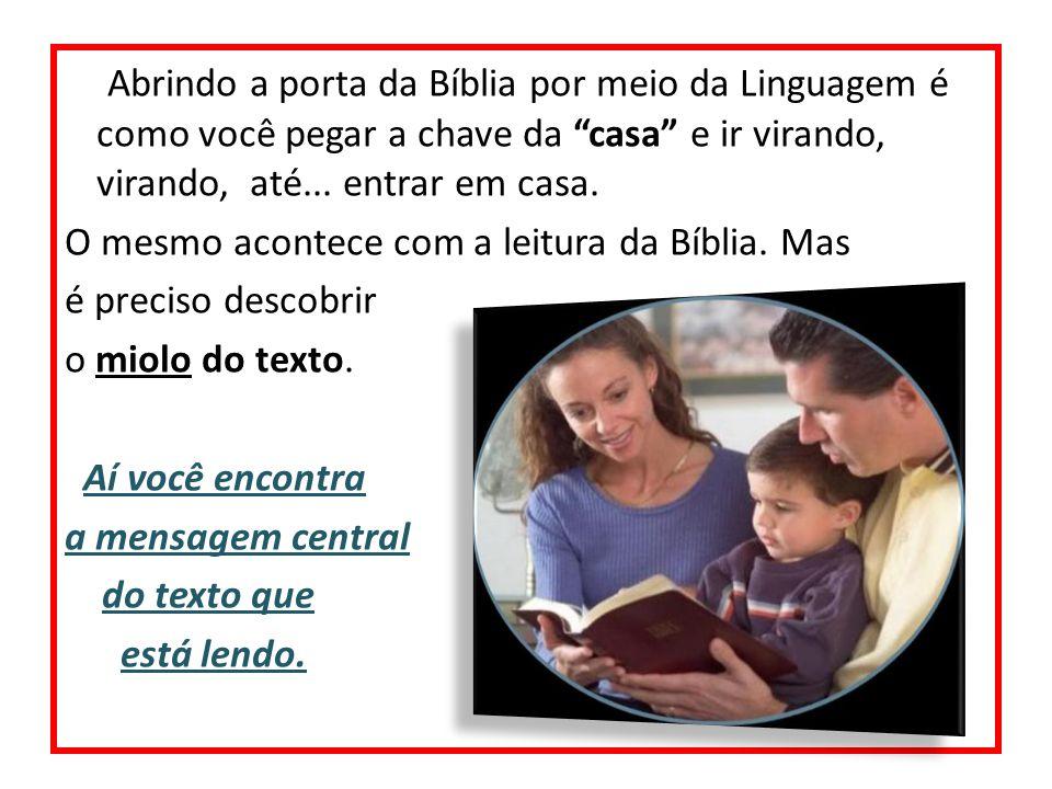 Abrindo a porta da Bíblia por meio da Linguagem é como você pegar a chave da casa e ir virando, virando, até... entrar em casa. O mesmo acontece com a