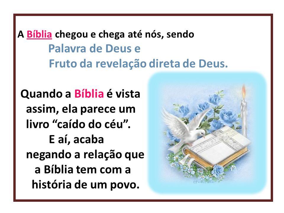 A Bíblia chegou e chega até nós, sendo Palavra de Deus e Fruto da revelação direta de Deus. Quando a Bíblia é vista assim, ela parece um livro caído d