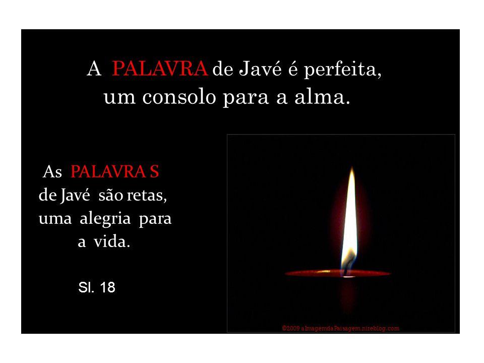 A A PALAVRA de Javé é perfeita, um consolo para a alma. As PALAVRA S de Javé são retas, uma alegria para a vida. Sl. 18