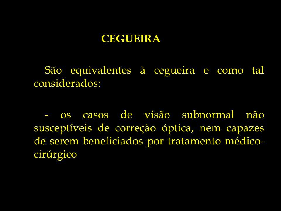 CEGUEIRA São equivalentes à cegueira e como tal considerados: - os casos de visão subnormal não susceptíveis de correção óptica, nem capazes de serem