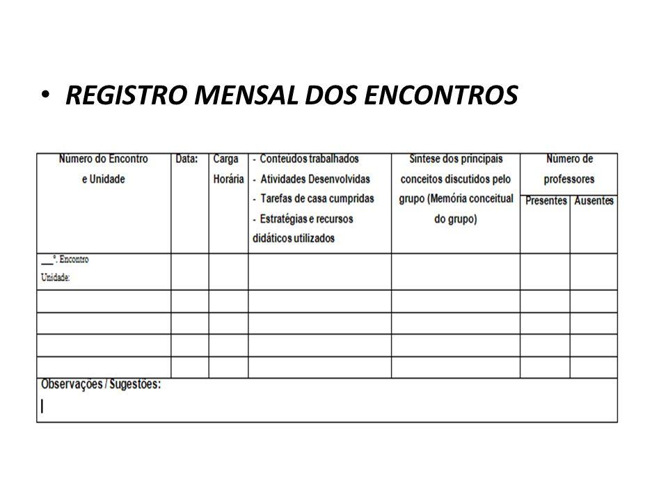 REGISTRO MENSAL DOS ENCONTROS