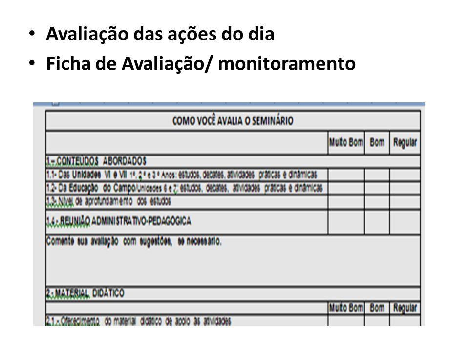 Avaliação das ações do dia Ficha de Avaliação/ monitoramento