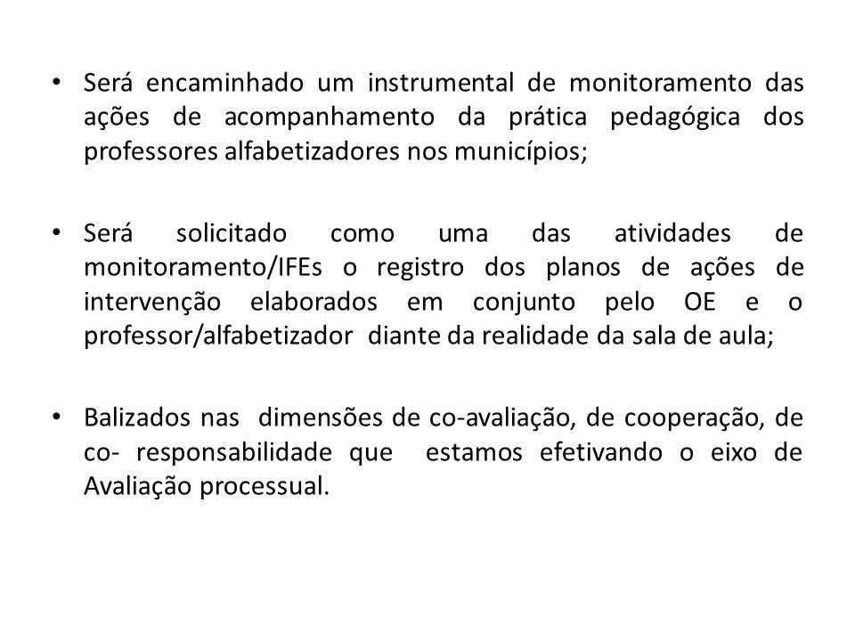 Será encaminhado um instrumental de monitoramento das ações de acompanhamento da prática pedagógica dos professores alfabetizadores nos municípios; Se