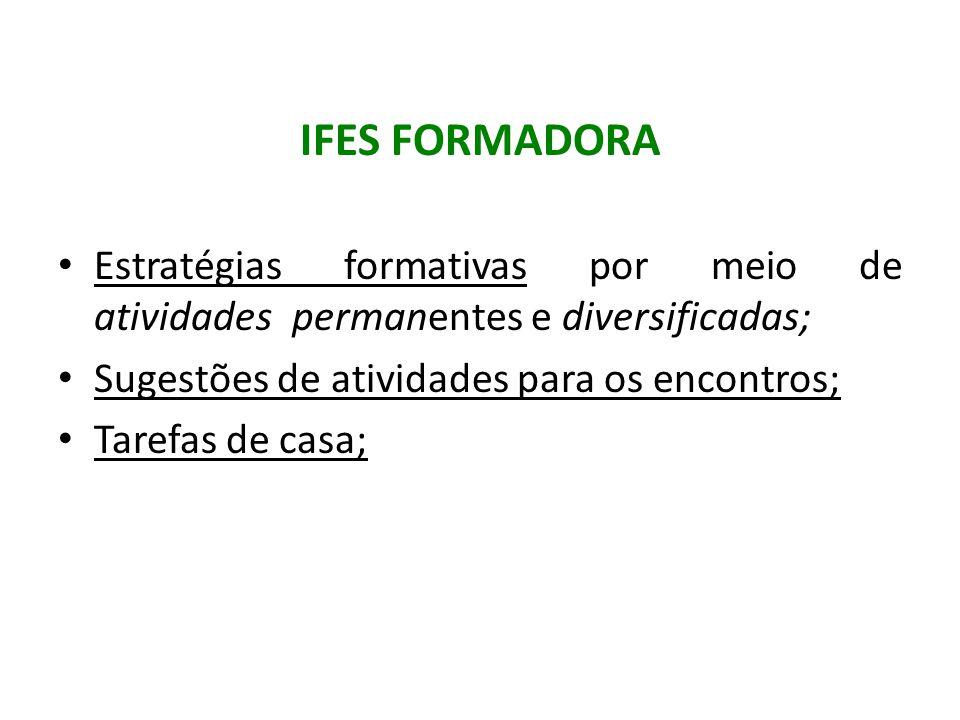 IFES FORMADORA Estratégias formativas por meio de atividades permanentes e diversificadas; Sugestões de atividades para os encontros; Tarefas de casa;