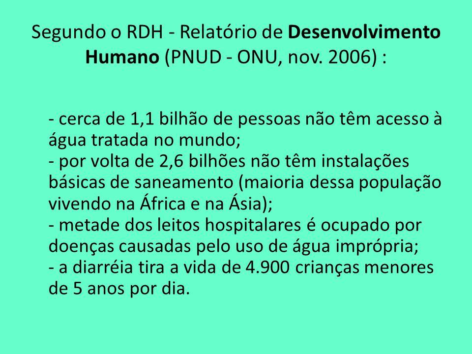 Segundo o RDH - Relatório de Desenvolvimento Humano (PNUD - ONU, nov. 2006) : - cerca de 1,1 bilhão de pessoas não têm acesso à água tratada no mundo;