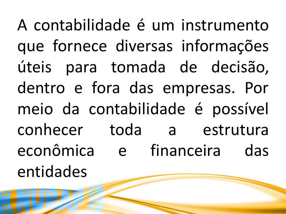 A contabilidade é um instrumento que fornece diversas informações úteis para tomada de decisão, dentro e fora das empresas. Por meio da contabilidade