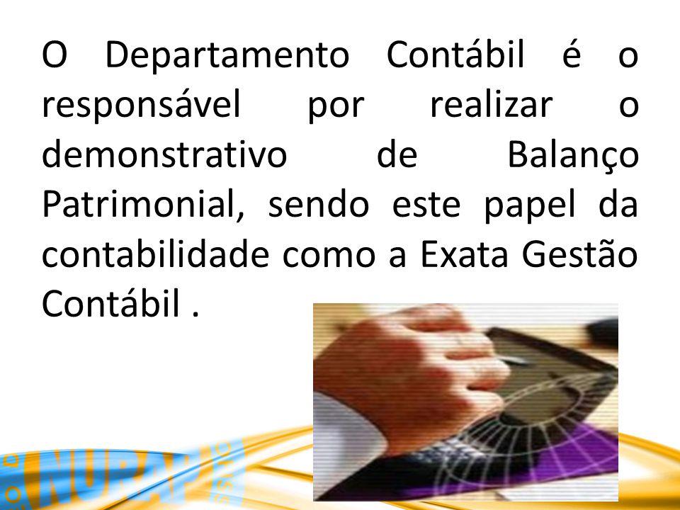 O Departamento Contábil é o responsável por realizar o demonstrativo de Balanço Patrimonial, sendo este papel da contabilidade como a Exata Gestão Contábil.