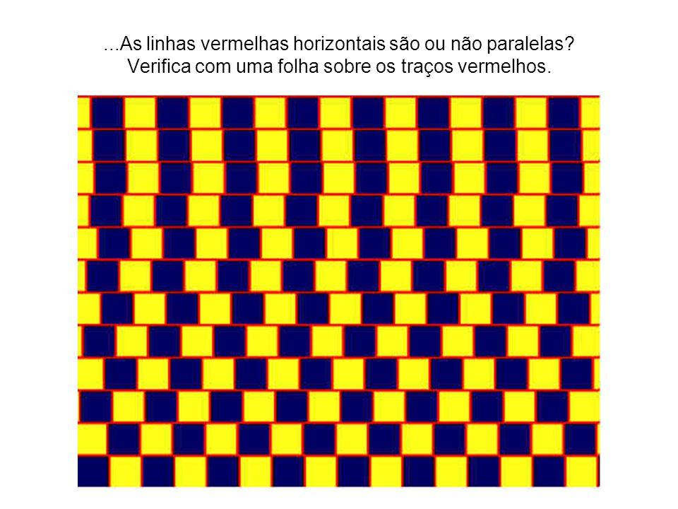 ...As linhas vermelhas horizontais são ou não paralelas? Verifica com uma folha sobre os traços vermelhos.