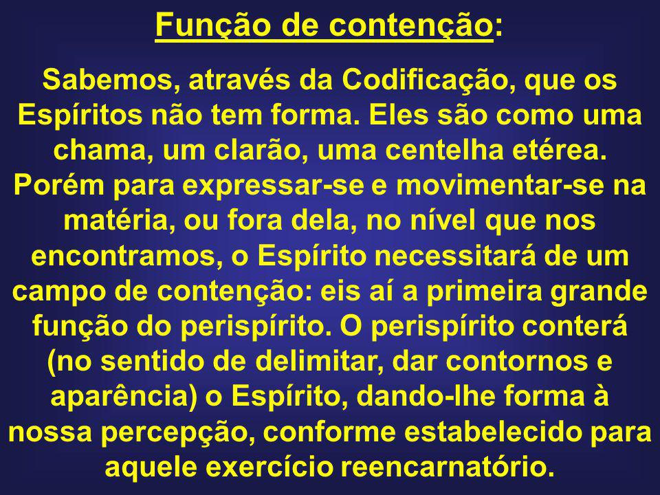 Função de contenção: Sabemos, através da Codificação, que os Espíritos não tem forma. Eles são como uma chama, um clarão, uma centelha etérea. Porém p