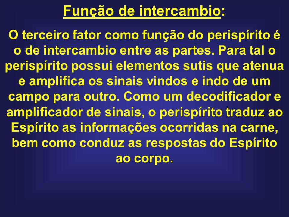 Função de intercambio: O terceiro fator como função do perispírito é o de intercambio entre as partes. Para tal o perispírito possui elementos sutis q