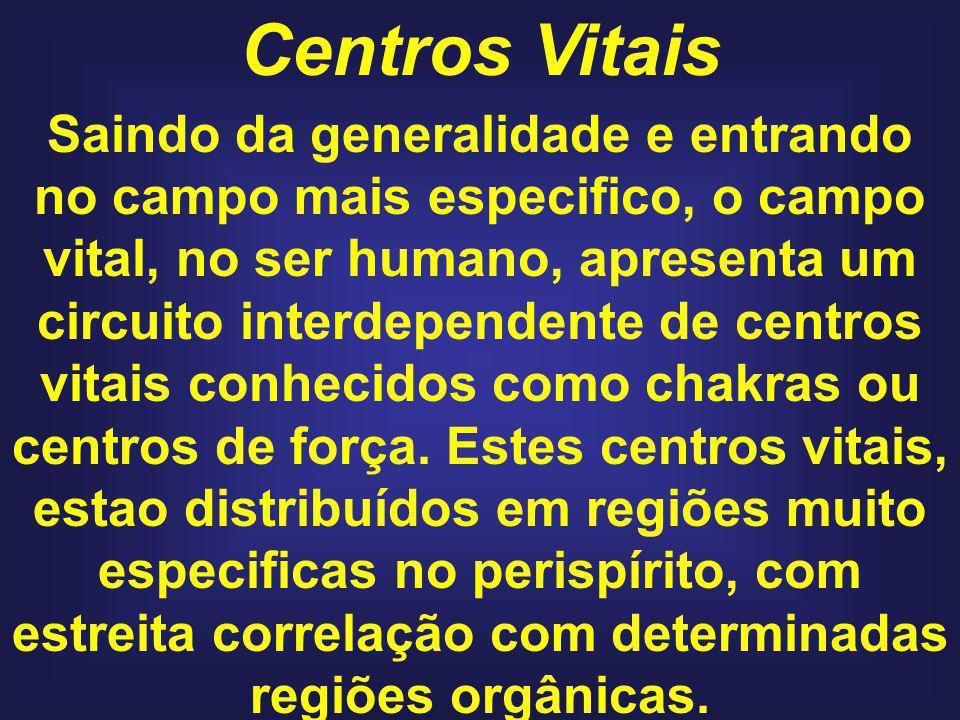 Centros Vitais Saindo da generalidade e entrando no campo mais especifico, o campo vital, no ser humano, apresenta um circuito interdependente de centros vitais conhecidos como chakras ou centros de força.