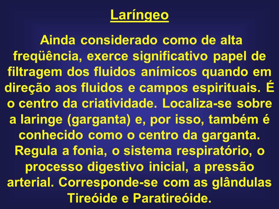 Laríngeo Ainda considerado como de alta freqüência, exerce significativo papel de filtragem dos fluidos anímicos quando em direção aos fluidos e campos espirituais.