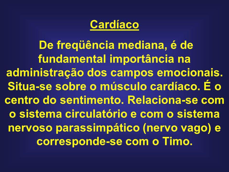 Cardíaco De freqüência mediana, é de fundamental importância na administração dos campos emocionais. Situa-se sobre o músculo cardíaco. É o centro do
