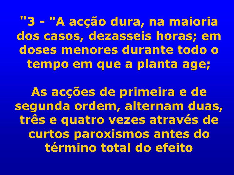 3 - A acção dura, na maioria dos casos, dezasseis horas; em doses menores durante todo o tempo em que a planta age; As acções de primeira e de segunda ordem, alternam duas, três e quatro vezes através de curtos paroxismos antes do término total do efeito