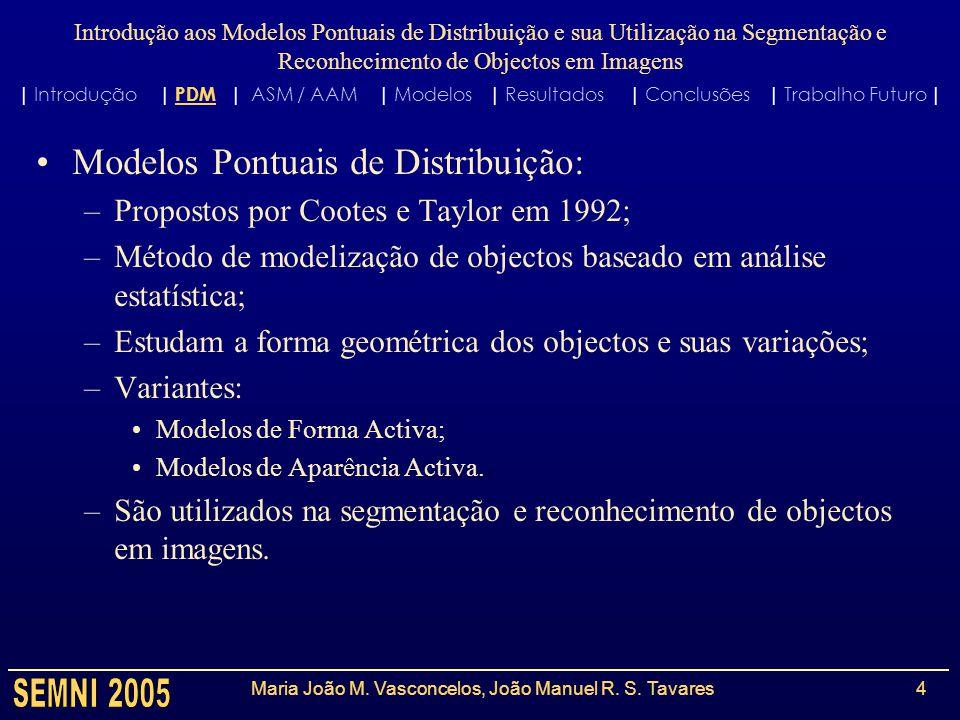 Introdução aos Modelos Pontuais de Distribuição e sua Utilização na Segmentação e Reconhecimento de Objectos em Imagens Maria João M. Vasconcelos, Joã