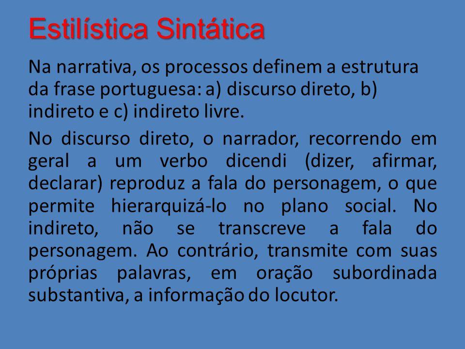Estilística Sintática Na narrativa, os processos definem a estrutura da frase portuguesa: a) discurso direto, b) indireto e c) indireto livre. No disc