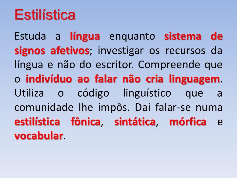 Estilística línguasistema de signos afetivos indivíduo ao falar não cria linguagem estilística fônicasintáticamórfica vocabular Estuda a língua enquan