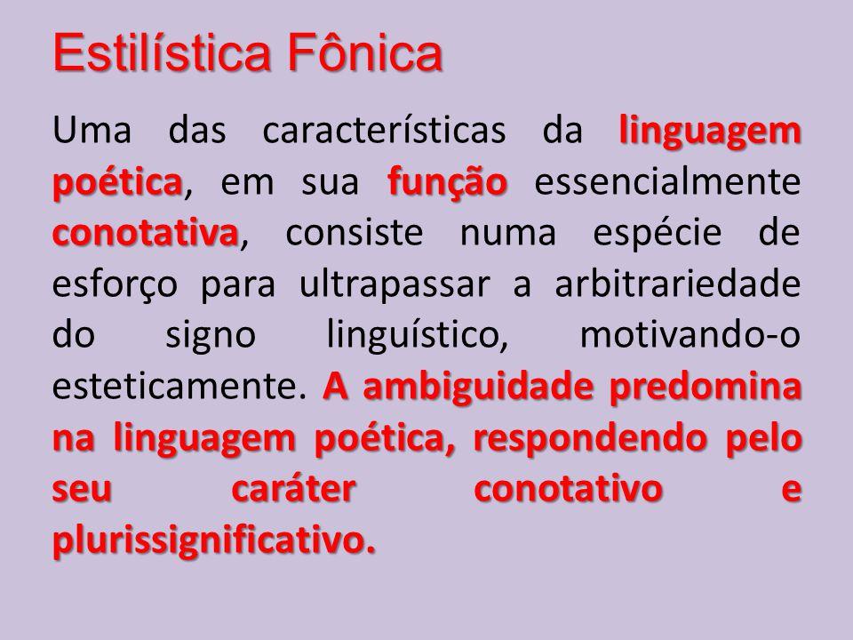 Estilística Fônica linguagem poéticafunção conotativa A ambiguidade predomina na linguagem poética, respondendo pelo seu caráter conotativo e plurissi