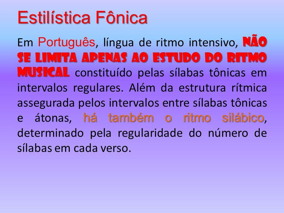Estilística Fônica não se limita apenas ao estudo do ritmo musical há também o ritmo silábico Em Português, língua de ritmo intensivo, não se limita a