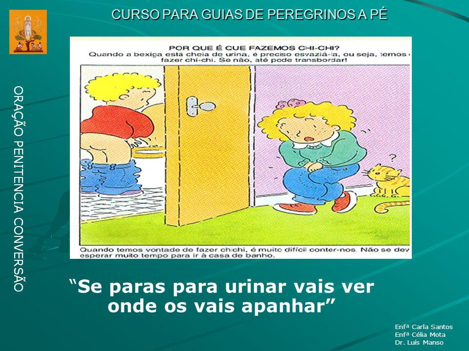 CURSO PARA GUIAS DE PEREGRINOS A PÉ ORAÇÃO PENITENCIA CONVERSÃO Enfª Carla Santos Enfª Célia Mota Dr. Luís Manso Se paras para urinar vais ver onde os