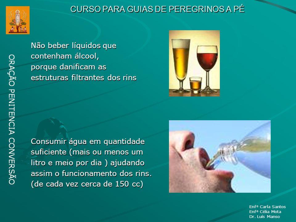 CURSO PARA GUIAS DE PEREGRINOS A PÉ Não beber líquidos que contenham álcool, porque danificam as estruturas filtrantes dos rins Consumir água em quant