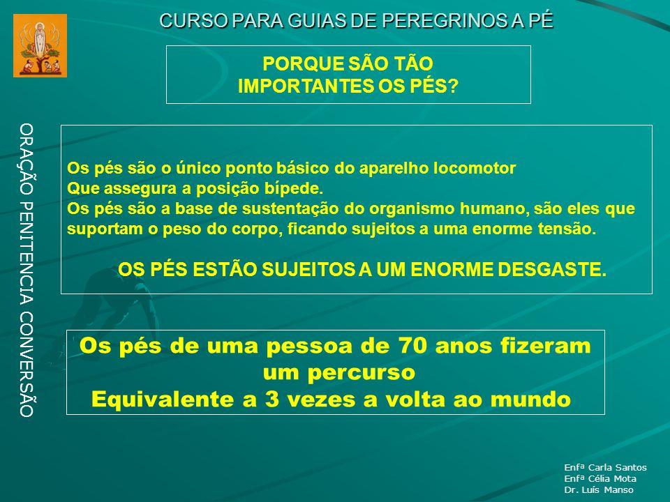 CURSO PARA GUIAS DE PEREGRINOS A PÉ ORAÇÃO PENITENCIA CONVERSÃO Enfª Carla Santos Enfª Célia Mota Dr. Luís Manso PORQUE SÃO TÃO IMPORTANTES OS PÉS? Os