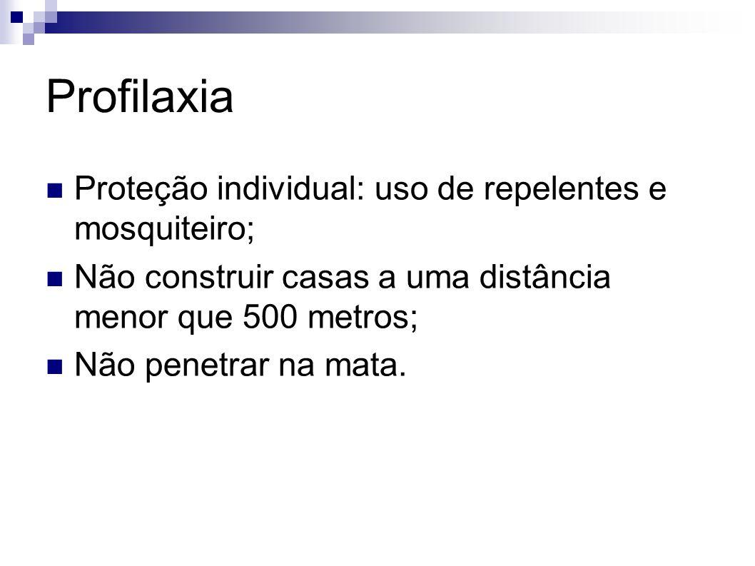 Profilaxia Proteção individual: uso de repelentes e mosquiteiro; Não construir casas a uma distância menor que 500 metros; Não penetrar na mata.