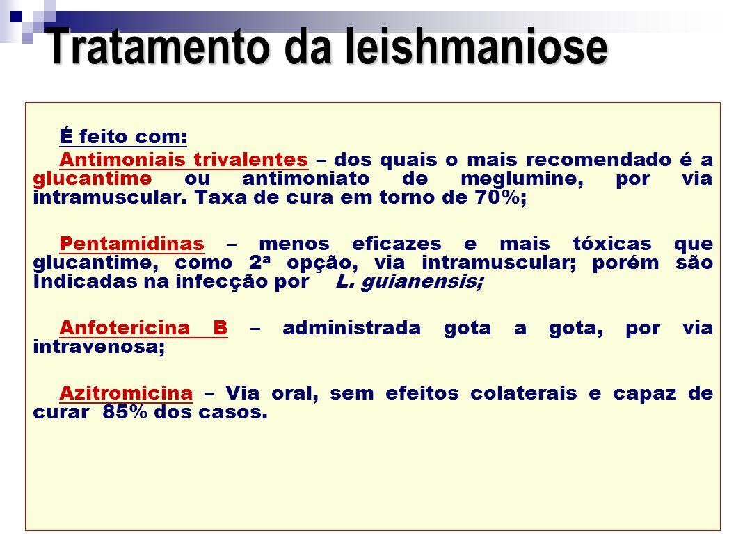 Tratamento da leishmaniose É feito com: Antimoniais trivalentes – dos quais o mais recomendado é a glucantime ou antimoniato de meglumine, por via int