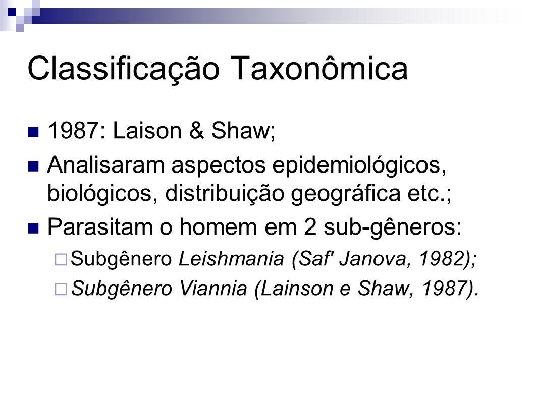 Classificação Taxonômica 1987: Laison & Shaw; Analisaram aspectos epidemiológicos, biológicos, distribuição geográfica etc.; Parasitam o homem em 2 su