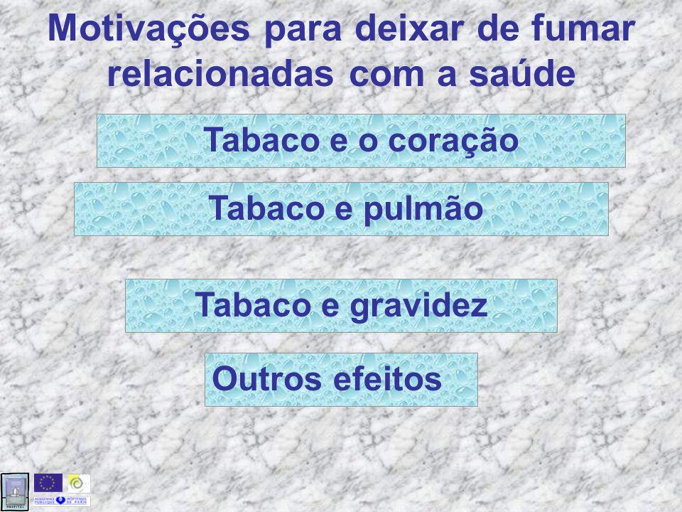 Outros efeitos Motivações para deixar de fumar relacionadas com a saúde Tabaco e pulmão Tabaco e o coração Tabaco e gravidez