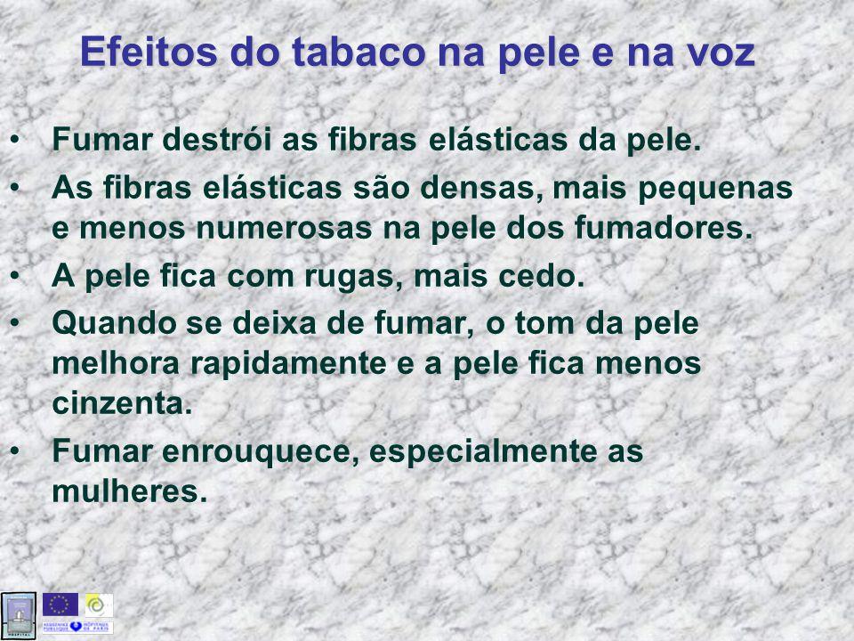 Fumar destrói as fibras elásticas da pele.
