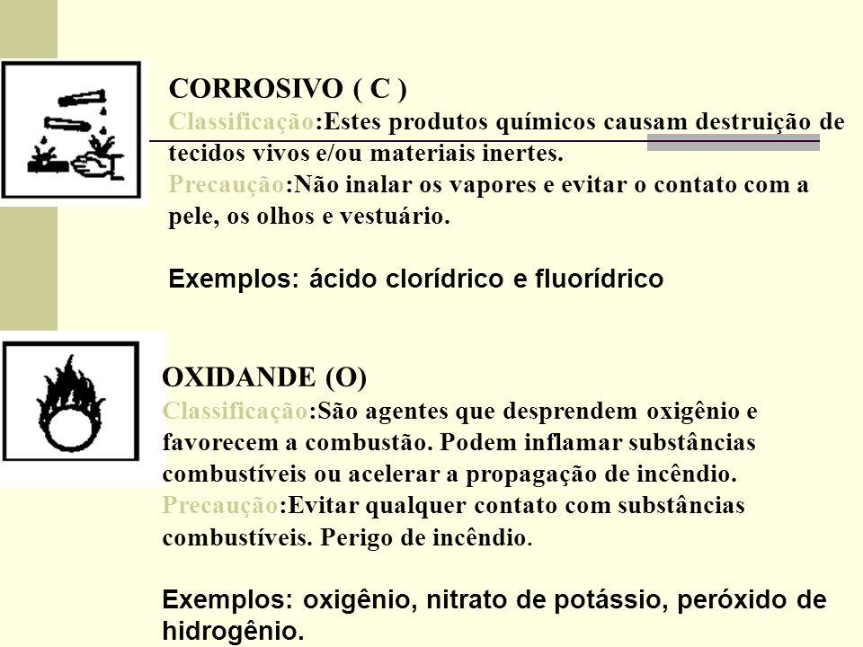 CORROSIVO ( C ) Classificação:Estes produtos químicos causam destruição de tecidos vivos e/ou materiais inertes. Precaução:Não inalar os vapores e evi