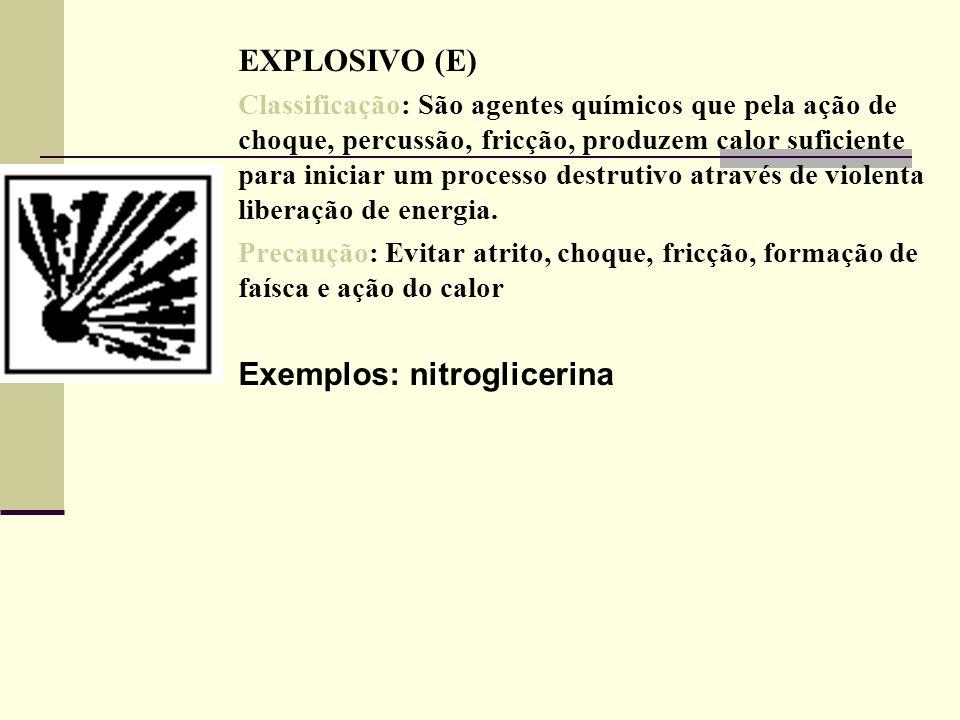 EXPLOSIVO (E) Classificação: São agentes químicos que pela ação de choque, percussão, fricção, produzem calor suficiente para iniciar um processo dest