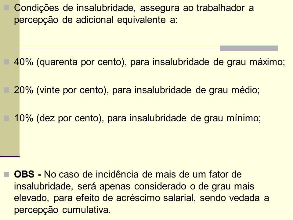 Condições de insalubridade, assegura ao trabalhador a percepção de adicional equivalente a: 40% (quarenta por cento), para insalubridade de grau máxim