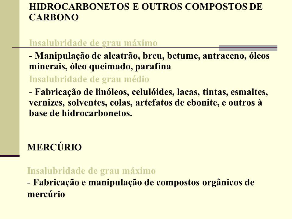 HIDROCARBONETOS E OUTROS COMPOSTOS DE CARBONO Insalubridade de grau máximo - Manipulação de alcatrão, breu, betume, antraceno, óleos minerais, óleo qu