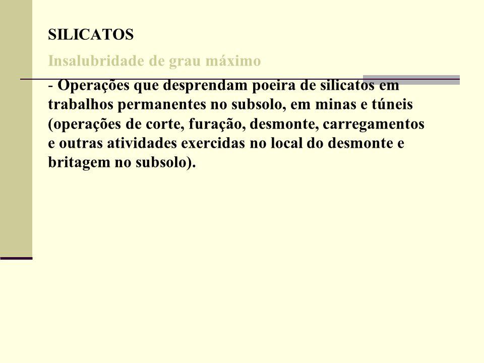 SILICATOS Insalubridade de grau máximo - Operações que desprendam poeira de silicatos em trabalhos permanentes no subsolo, em minas e túneis (operaçõe