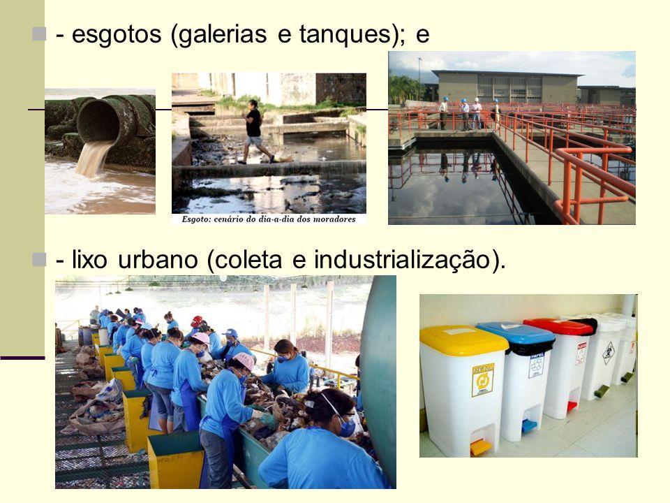 - esgotos (galerias e tanques); e - lixo urbano (coleta e industrialização).
