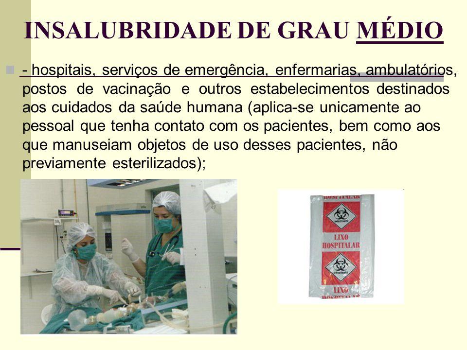 INSALUBRIDADE DE GRAU MÉDIO - hospitais, serviços de emergência, enfermarias, ambulatórios, postos de vacinação e outros estabelecimentos destinados a