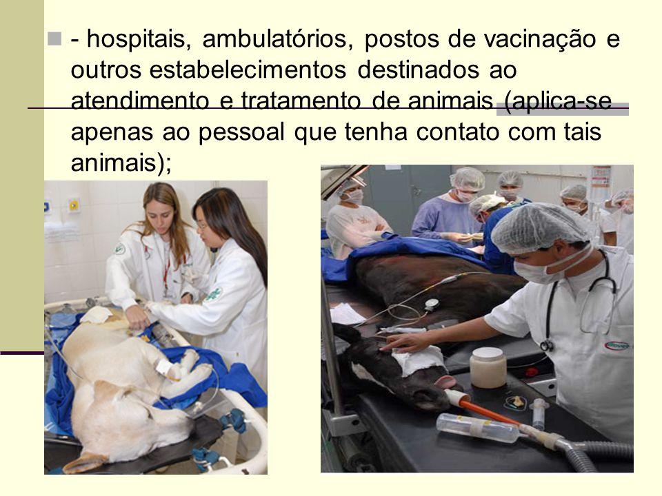 - hospitais, ambulatórios, postos de vacinação e outros estabelecimentos destinados ao atendimento e tratamento de animais (aplica-se apenas ao pessoa