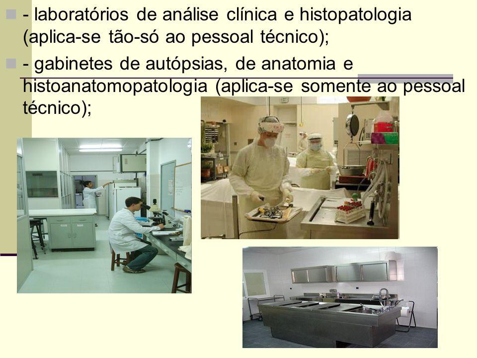 - laboratórios de análise clínica e histopatologia (aplica-se tão-só ao pessoal técnico); - gabinetes de autópsias, de anatomia e histoanatomopatologi