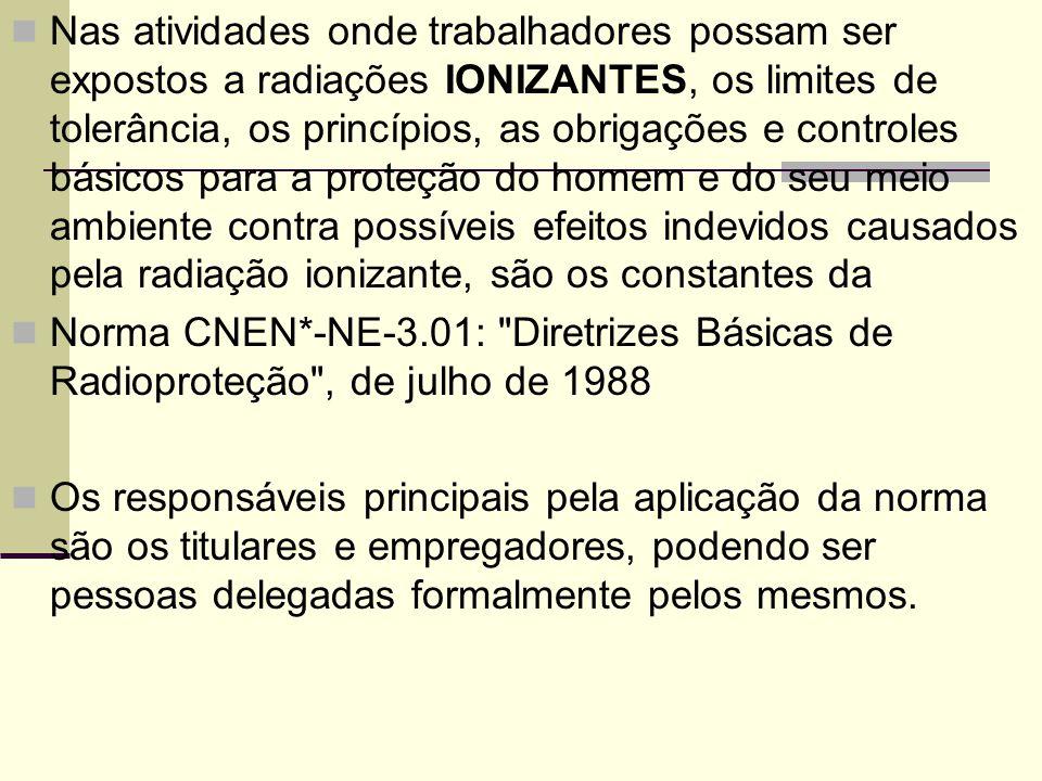 Nas atividades onde trabalhadores possam ser expostos a radiações IONIZANTES, os limites de tolerância, os princípios, as obrigações e controles básic