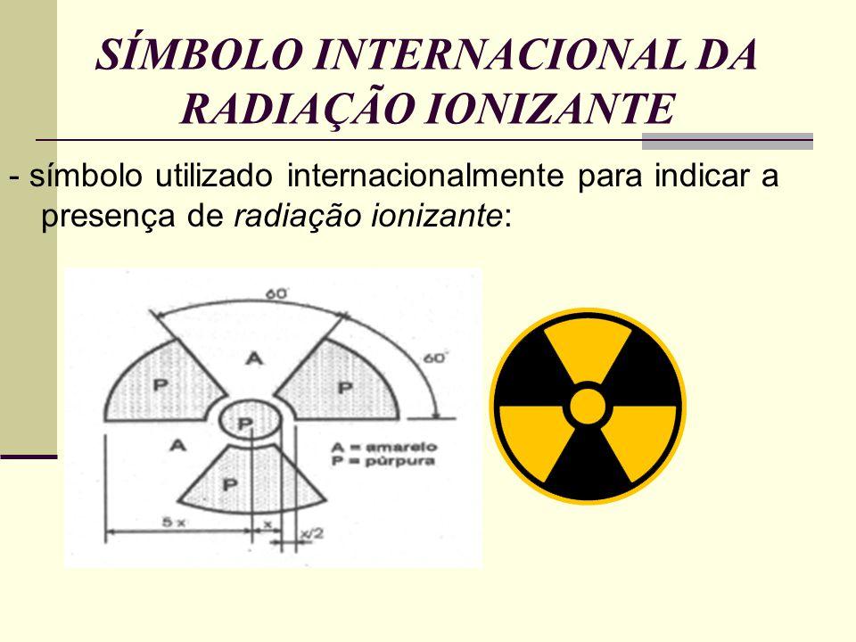 SÍMBOLO INTERNACIONAL DA RADIAÇÃO IONIZANTE - símbolo utilizado internacionalmente para indicar a presença de radiação ionizante: