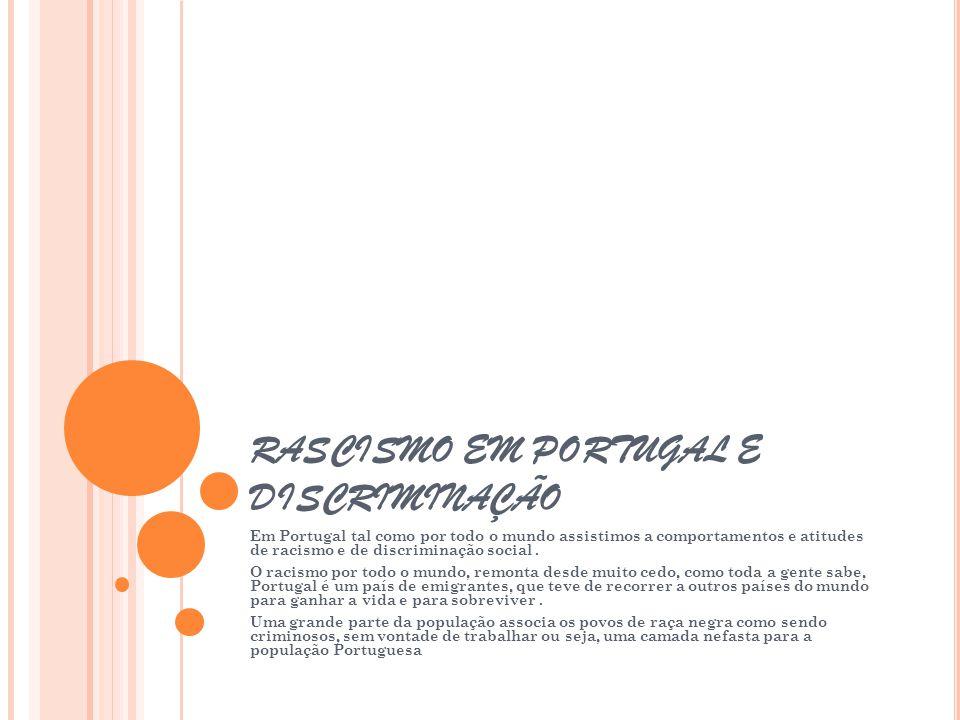 RASCISMO EM PORTUGAL E DISCRIMINAÇÃO Em Portugal tal como por todo o mundo assistimos a comportamentos e atitudes de racismo e de discriminação social