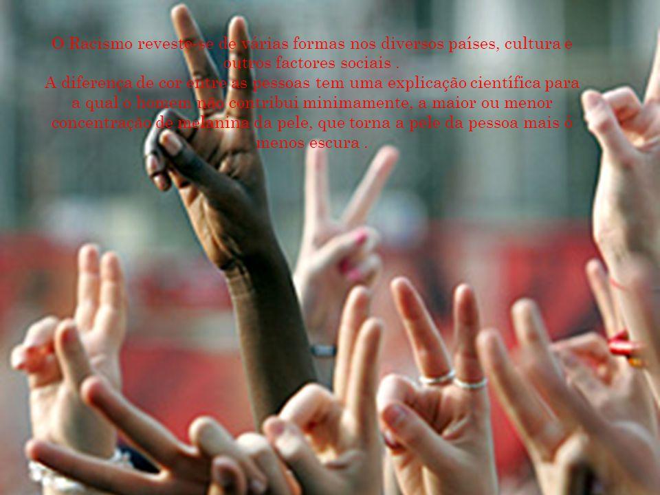O Racismo reveste-se de várias formas nos diversos países, cultura e outros factores sociais. A diferença de cor entre as pessoas tem uma explicação c