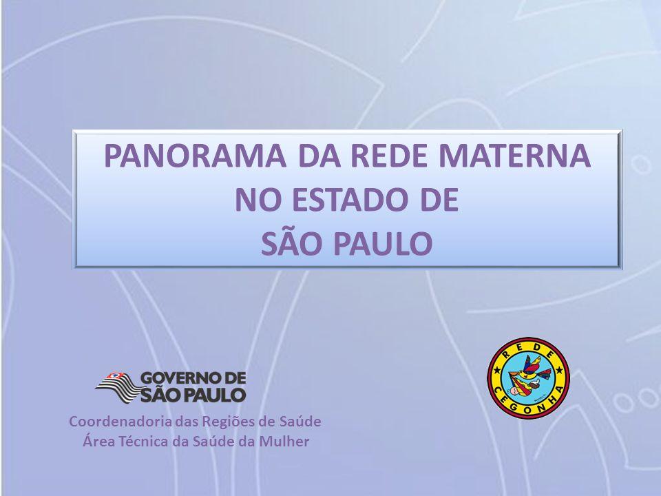 PANORAMA DA REDE MATERNA NO ESTADO DE SÃO PAULO Coordenadoria das Regiões de Saúde Área Técnica da Saúde da Mulher