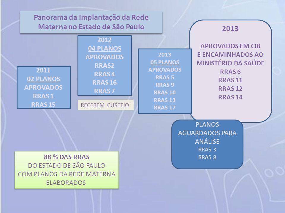 2011 02 PLANOS APROVADOS RRAS 1 RRAS 15 2012 04 PLANOS APROVADOS RRAS2 RRAS 4 RRAS 16 RRAS 7 2013 APROVADOS EM CIB E ENCAMINHADOS AO MINISTÉRIO DA SAÚDE RRAS 6 RRAS 11 RRAS 12 RRAS 14 88 % DAS RRAS DO ESTADO DE SÃO PAULO COM PLANOS DA REDE MATERNA ELABORADOS 88 % DAS RRAS DO ESTADO DE SÃO PAULO COM PLANOS DA REDE MATERNA ELABORADOS Panorama da Implantação da Rede Materna no Estado de São Paulo RECEBEM CUSTEIO 2013 05 PLANOS APROVADOS RRAS 5 RRAS 9 RRAS 10 RRAS 13 RRAS 17 PLANOS AGUARDADOS PARA ANÁLISE RRAS 3 RRAS 8