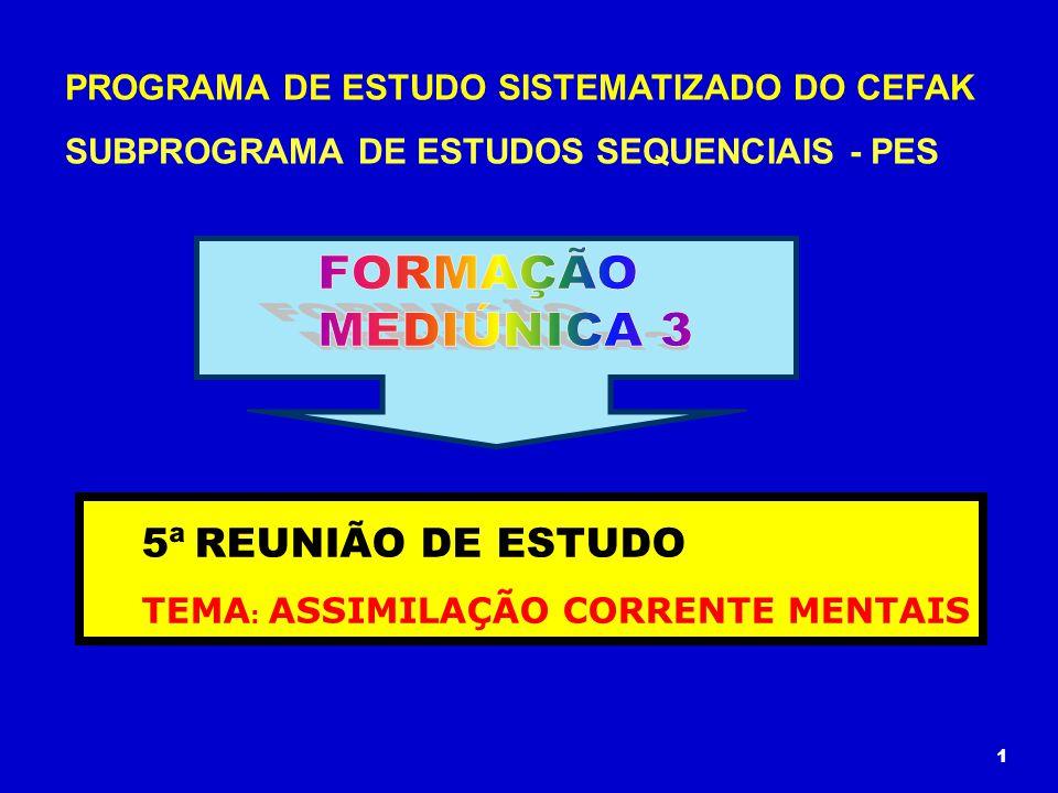 PROGRAMA DE ESTUDO SISTEMATIZADO DO CEFAK SUBPROGRAMA DE ESTUDOS SEQUENCIAIS - PES 5ª REUNIÃO DE ESTUDO TEMA : ASSIMILAÇÃO CORRENTE MENTAIS 1